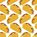Taco seamless pattern. Traditional Mexican food background. Corn Royalty Free Stock Photo