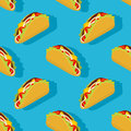 Taco seamless pattern. Traditional Mexican food background. Royalty Free Stock Photo