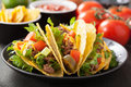 Taco shells with beef and vegetables Royalty Free Stock Image