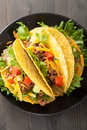 Taco shells with beef and vegetables Stock Photography
