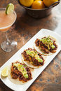 Tacos al pastor with a mango margarita Royalty Free Stock Photography