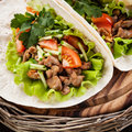 Tacos with chicken and fresh vegetables close up Royalty Free Stock Images