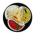 Tacos with Dips on Black Plate (Isolated) Stock Images