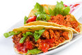 Tacos with fresh tomatoes salsa Royalty Free Stock Photography