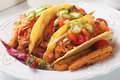 Tacos with ground beef and salad mexican chili baby corn Stock Photos