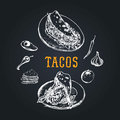 Tacos menu in vector. Tacos illustrations. Vintage hand drawn Mexican quick meals collection.Fast-food restaurant icons.