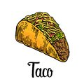 Tacos - mexican traditional food. Vector vintage engraved illustration for menu, poster, web. Isolated on white background. Royalty Free Stock Photo
