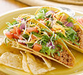 Tacos on a platter with tortilla chips Stock Images