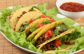 Tacos and salsa horizontal Royalty Free Stock Photos