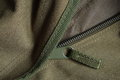 Tactical holdall army bag zipper detail of a showing canvas and Stock Photo