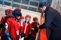 Tactics coach in game hockey in ice Royalty Free Stock Photo
