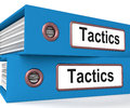 Tactics folders show organisation and strategic showing methods Royalty Free Stock Photo