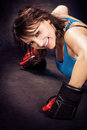 Tae bo girl young woman in sport dress at boxing exercise Stock Photo