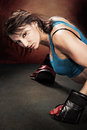 Tae bo girl young woman in sport dress at boxing exercise Royalty Free Stock Image