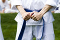 Tae kwon do student practicing in the park Stock Image