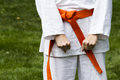 Tae kwon do student practicing in the park Stock Photos