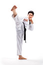 Taekwondo action by a young man Royalty Free Stock Image