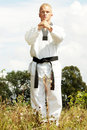 Taekwondo fighter outdoor Royalty Free Stock Photo