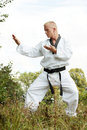 Taekwondo fighter outdoor Stock Photography