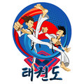 Taekwondo tae kwon do korean martial art man demonstrate arts kick Stock Photo