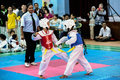Taekwondo tournament kids as young as years old participating in a penang inter school championship tm wtf Stock Images