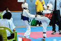 Taekwondo tournament kids as young as years old participating in a penang inter school championship tm wtf Stock Image