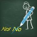 Tafel stickwoman pen yes no Stockfotografie