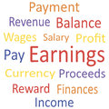Tag cloud earnings with synonyms vector illustration Royalty Free Stock Photography