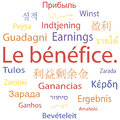Tag cloud or speech bubble earnings in different languages vector illustration Royalty Free Stock Image