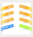 Tag paper sticker in orange for new, sal, sold out Royalty Free Stock Photo