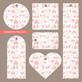 Tag set with wedding ornament.Pink pattern Royalty Free Stock Photo