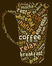 Tag or word cloud coffee drinking related in shape of cup illustration Royalty Free Stock Photography