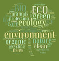 Tag or word cloud ecology related in shape of clover illustration Royalty Free Stock Images