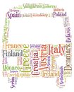 Tag or word cloud europe travel related in shape of bus or coach Stock Image