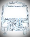 Tag or word cloud greece travel related in shape of bus or coach Stock Photos