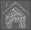 Tag or word cloud loan related in shape of house Stock Photo