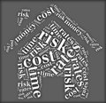 Tag or word cloud risk and cost related in shape of house Stock Photo