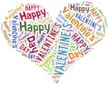 Tag or word cloud valentine s day related in shape of heart Stock Images