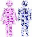 Tag or word cloud world day of social justice related in shape couple Royalty Free Stock Image