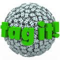 Tag it words hash tag sphere ball hashtags the on a or of tags to illustrate trending topics posts or stories promoted with on Stock Photo