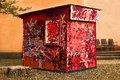 Tagged shed a picture of a wooden having been extensively sprayed with graffiti tags and scribble Royalty Free Stock Images