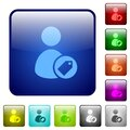 Tagging user color square buttons Royalty Free Stock Photo