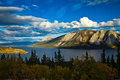 Tagish lake bove island yukon and british columb scenic including in the territory columbia canada Stock Photography