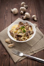 Tagliatelle ai funghi - Noodles with mushroom Royalty Free Stock Photos