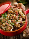 Tagliatelle with bacon and mushroom Stock Photos