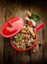 Tagliatelle with bacon and mushroom Stock Image