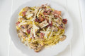 Tagliatelle with bacon and mushrooms Royalty Free Stock Photo