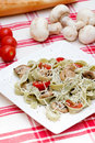 Tagliatelle with mushrooms and cheese Royalty Free Stock Photo