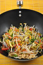 Tagliatelle with organic stir fry Stock Photo