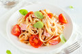 Tagliatelle pasta with ham Royalty Free Stock Photo